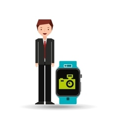 Cartoon man smart watch and photographic camera vector