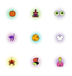 All hallows evening icons set pop-art style vector