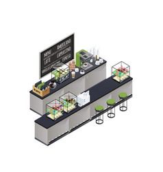 isometric coffee bar composition vector image