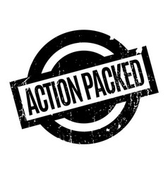 action packed rubber stamp vector image