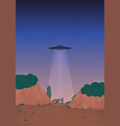 Alien ship arrival ufo on the horizon over the vector
