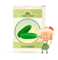 Pack of cucumber seeds icon vector