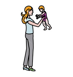 mom holding baby playing image vector image