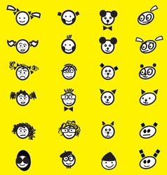 Happy and sad face set on yellow background vector