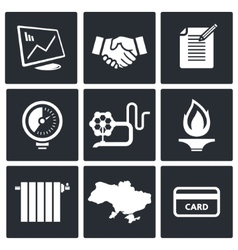 Natural gas industry icon set vector