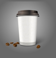 Blank realistic paper coffee cup with beans vector