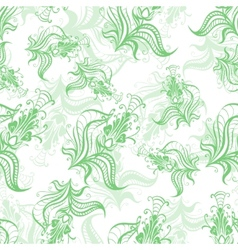 Vintage pattern of green spring flowers vector