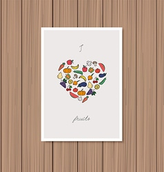 Vegetables arranged in heart shape vector image