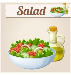 Fresh salad with olive oil detailed icon vector