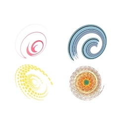 Set of 4 colorful swirl signs vector