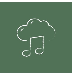 Cloud music icon drawn in chalk vector