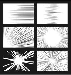 Comic horizontal and radial speed lines set vector