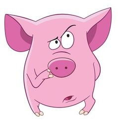 Cute cartoon pink pig vector