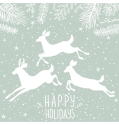 Deer white holiday vector
