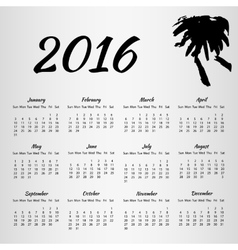 2016 calendar with inkblot on white background vector