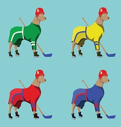 Hockey dogs mascots in colorful sportswear vector