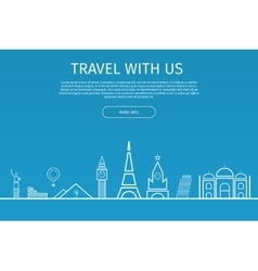 Infographics elements travel and famous landmarks vector
