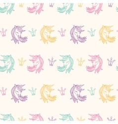 Seamless pattern with unicorns fantasy fairytale vector