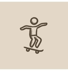 Man riding on skateboard sketch icon vector
