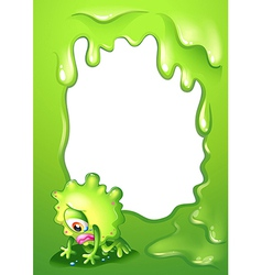 A green border template with a monster crying vector image vector image
