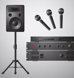 Amplifier microphone speaker dvd-player vector