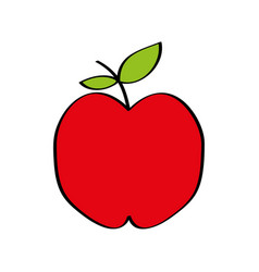 apple fresh fruit drawing icon vector image vector image