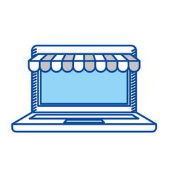 Blue contour of laptop computer online store vector