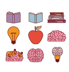 Books brains lighbulb and apple silhouettes set in vector