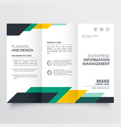 Business trifold brochure design with geometric vector