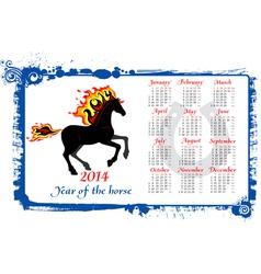 Calendar 2014 horse vector image vector image