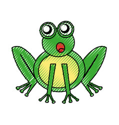 Comic frog character icon vector