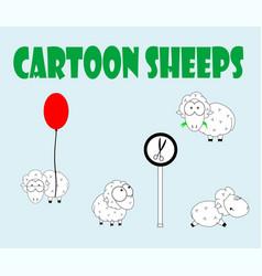 cute cartoon sheep set vector image vector image