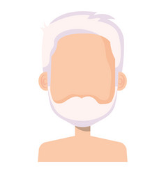 Cute grandfather shirtless avatar character vector
