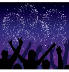fireworks with silhouettes vector image vector image