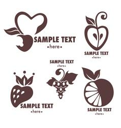 fruits emblems vector image vector image