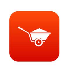 garden wheelbarrow icon digital red vector image vector image