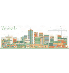 Kawasaki japan city skyline with color buildings vector