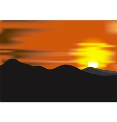 Landscape with sunset at mountain range vector