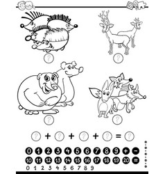 Maths worksheet for coloring vector