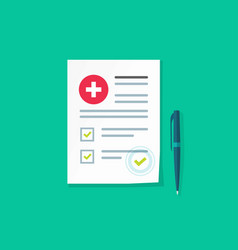 medical or health insurance document vector image vector image