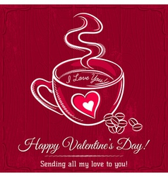 red valentine card with cup of hot drink vector image