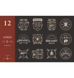 Set of cask alcohol emblems vector