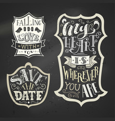 Set of chalk love badges on blackboard background vector