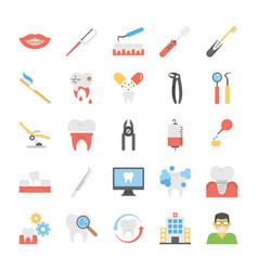 Set of flat dental icons set vector