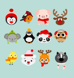 set of winter cute animals in vector image vector image