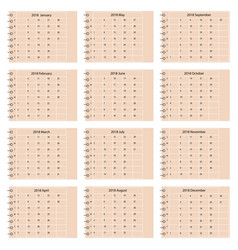 simple calendar 2018 vector image