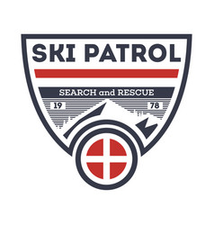 Ski patrol search and rescue vintage label vector