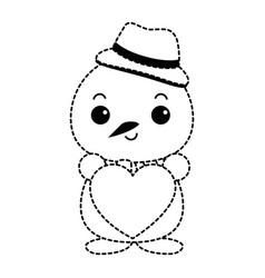 Snowman with christmas hat and heart kawaii vector