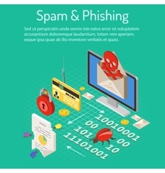 Spam and phishing isometric concept vector