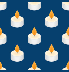 Tea candle icon floating candle seamless pattern vector
